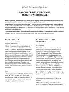 Basic Guidelines For Doctors Using The Wt3 Protocol