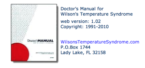 Doctor's Manual for Wilson's Temperature Syndrome